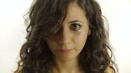 Vintage girl distraught tears CU CC Footage