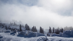 Snow mountain with clouds Footage