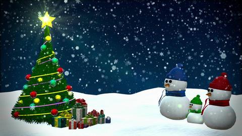 Snowmen at winter snowfall background Animation