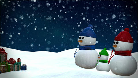 Snowmen at winter snowfall background Animation