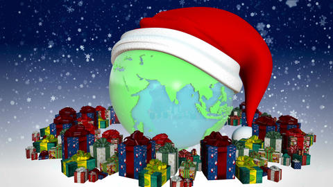 New year Earth with presents Animation