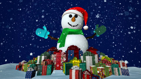 Snowman with presents Animation