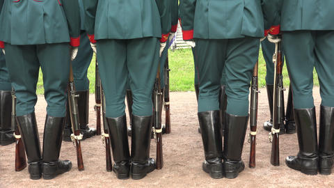 Formation Of Soldiers. Boots, Rifle Butts. 4K stock footage