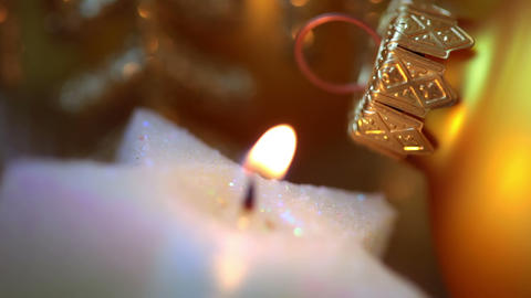 Xmas Ball And Candle. Macro. Seamless Loop stock footage