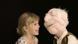 Little girl puppet play hide and seek 3 Footage