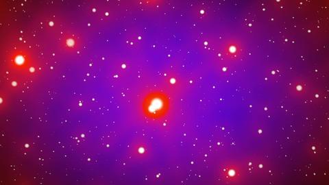 Red on Blue Glowing Stars Starfield Loop 2 rotate Stock Video Footage