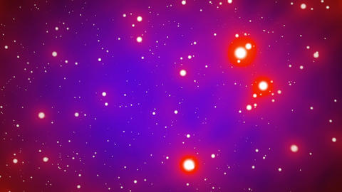 Red on Blue Glowing Stars Starfield Loop 2 rotate Animation