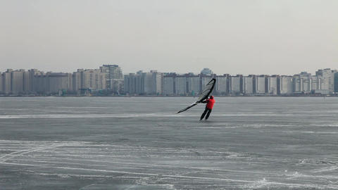 Silhouettes of ice surfing Footage