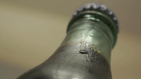 Drink Bottle Cold Condensation Macro Footage