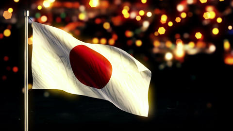 Japan National Flag City Light Night Bokeh Loop An Animation