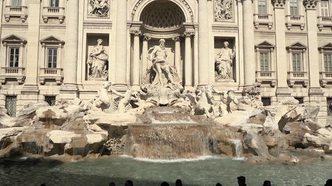 City View Of Rome With Trevi Fountain And People Footage