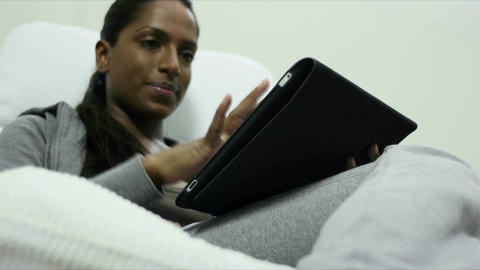 Happy Asian Woman With Ipad Digital Tablet Compute Live Action
