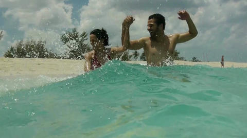 Happy Young People Having Fun On Tropical Beach Footage
