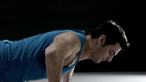 Strong Man Doing Pushups And Sport In Fitness Gym stock footage