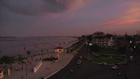 Timelapse Of Phnom Penh Cambodia Asia From Sunset  stock footage