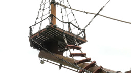 Crow's nest on the old galleon ship. Pirate ship Footage