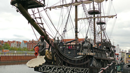 Old ship, stylized on 16 century galleon ship Footage