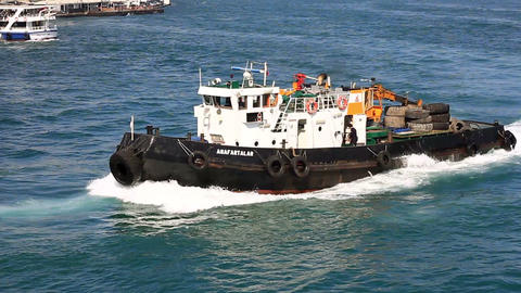 Work Vessel sailing into Goldenhorn Bay Footage