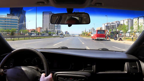 Driving with a mounted video camera in car Footage