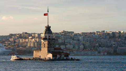 Maidens Tower In Istanbul, Turkey stock footage