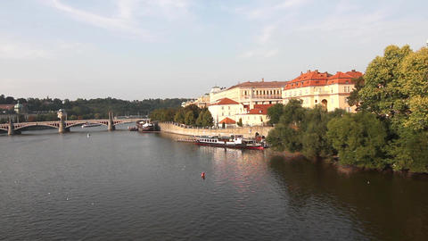 View At The Vitava River In Prague And The Charles stock footage