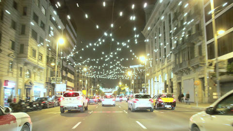Barcelona Christmas Street Lights Decorations And  stock footage