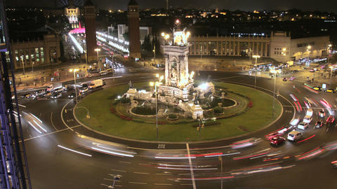City Square Life Traffic Time Lapse at Night Footage