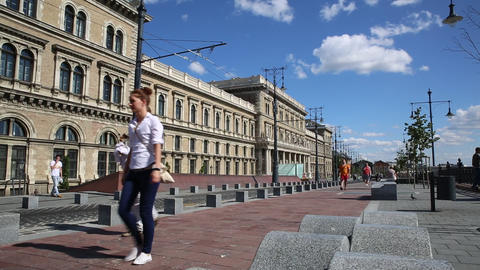 Corvinus building in Budapest Footage
