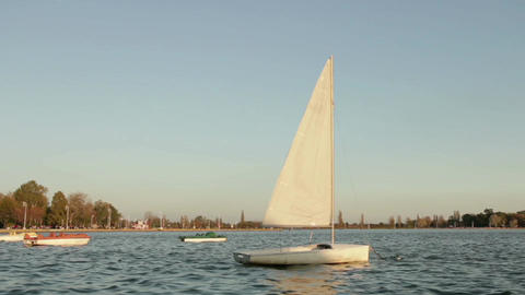 sailing boat rocking on the lake Footage