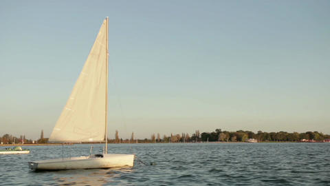 sailing boat rocking on the lake Footage