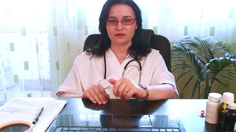 Doctor Talking Directly To Webcam stock footage