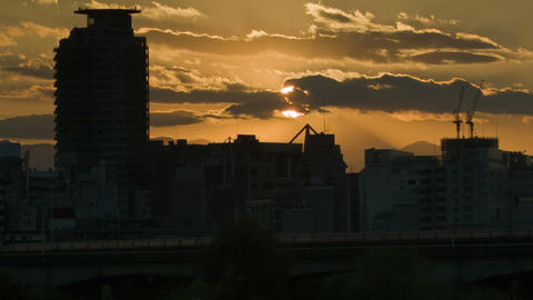 sunset of mount fuji time lapse from tokyo Footage