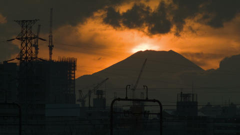 sunset of mount fuji time lapse from tokyo ビデオ
