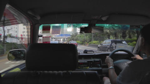 Passenger Perspective Hong Kong Taxi stock footage