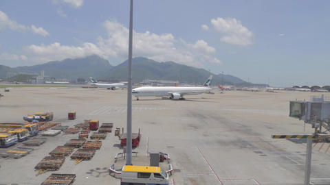 cathay pacific plane - parking at hong kong airpor Footage