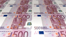 Money Euro 500 banknotes pan loopable Footage