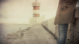 Lighthouse man standing antique Footage