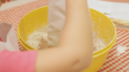 Little girl cooking cake flour Footage