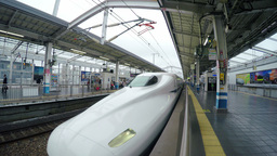 View of a Shinkansen high-speed train arriving at Footage