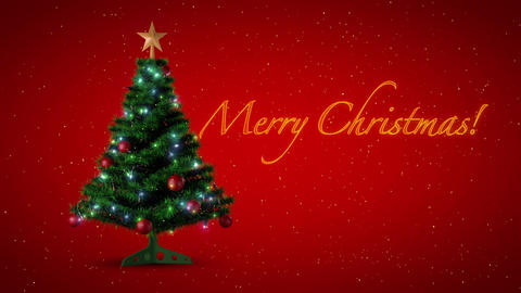 Christmas Tree with Merry Christmas text CG動画素材
