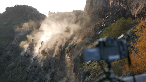 Recording Sunrise stock footage