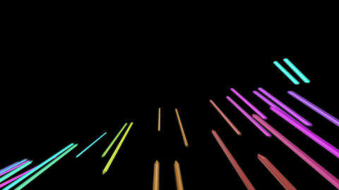 flying colour sticks Animation