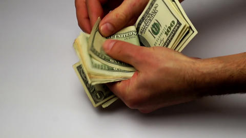 hands calculate old banknotes of dollars Footage