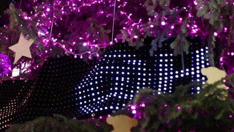 Christmas Pink Led Light Tree Detail stock footage
