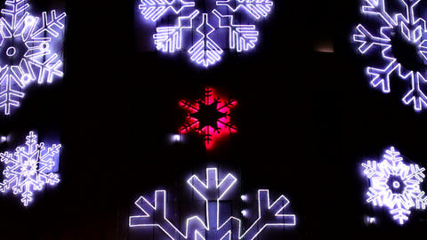 Led Christmas Snowflakes Decorations Detail Footage