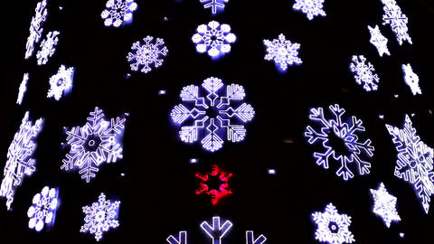 Led Christmas Snowflakes Decorations Footage