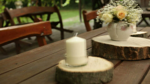 Decorated Table For Wedding stock footage