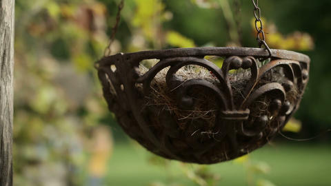 Decorative Hanging Flower Pot stock footage