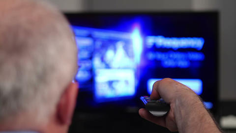 Smart Tv And Senior Man Hand Pressing Remote 2 stock footage