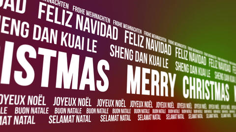 Merry Christmas Scrolling Different Languages Animation